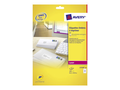 Avery 240 Etiquettes blanches pour Timbres 635 x 339mm