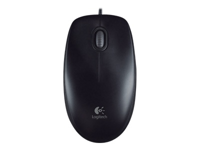 Logitech B100 - Mouse - right and left-handed - optical - 3 buttons - wired - USB - black