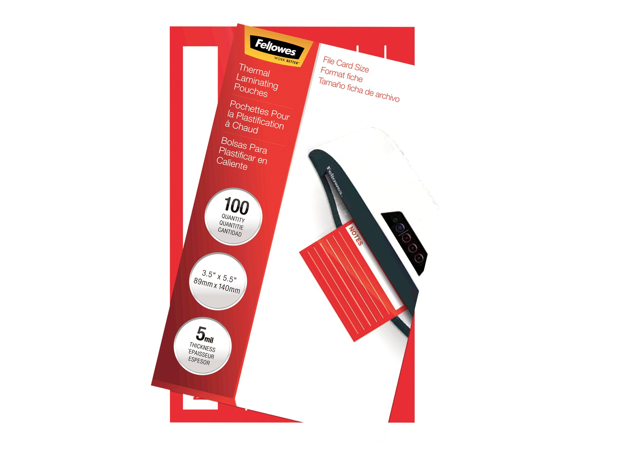 Fellowes File Card - 100-pack - clear - 89 x 140 mm - glossy laminating pouches