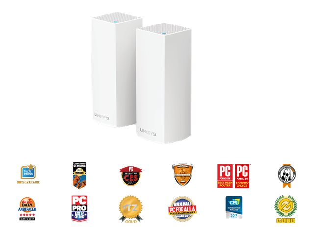 Linksys VELOP Whole Home Mesh Wi-Fi System WHW0302 - WLAN-System (2 Router) - bis zu 371 m² - Netz - GigE - Bluetooth 4.0 LE, 802.11b/g/n/ac