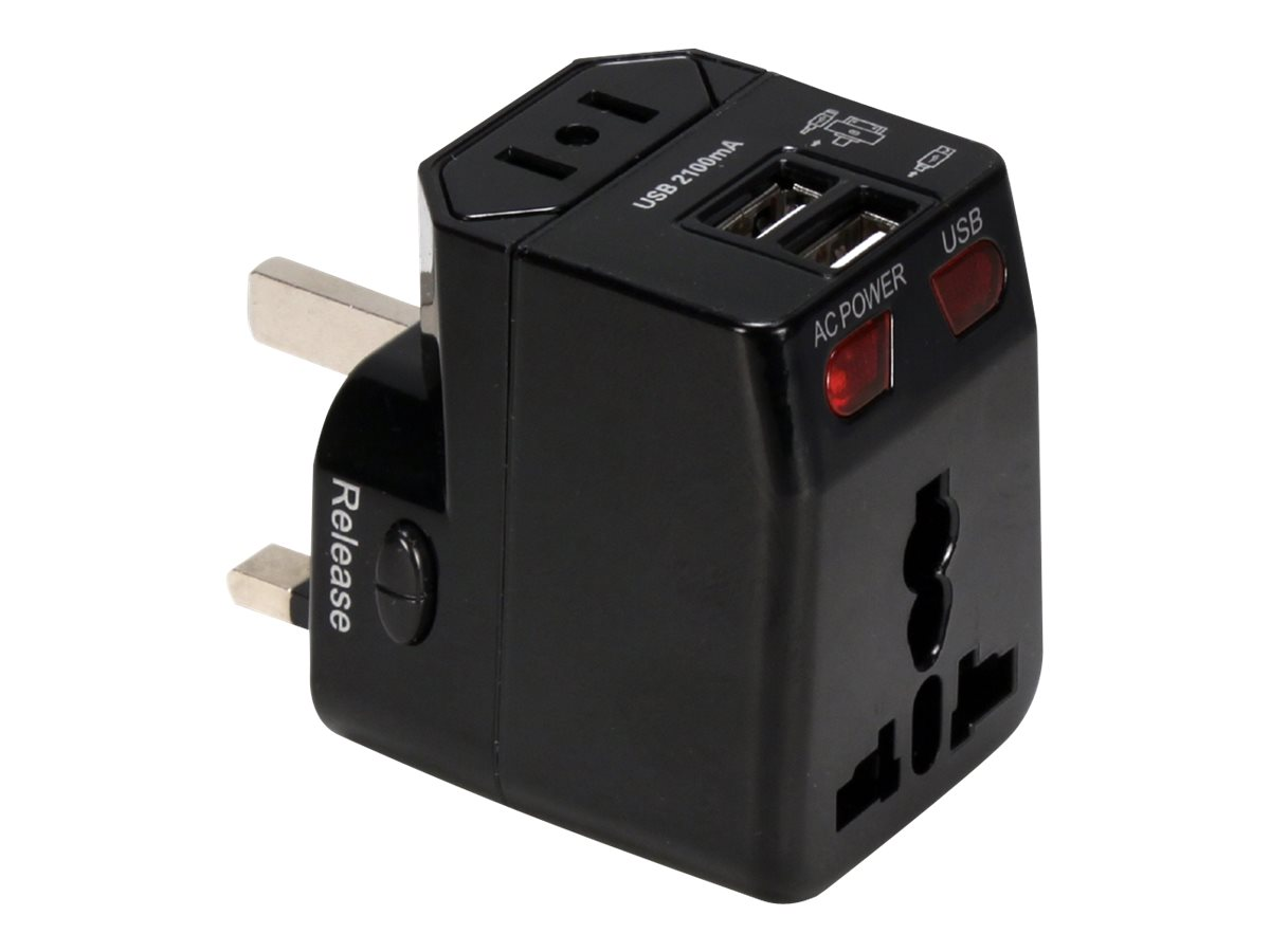 QVS Premium World Travel Power Adaptor with Surge Protection & 2.1A Dual-USB Charger power adapter