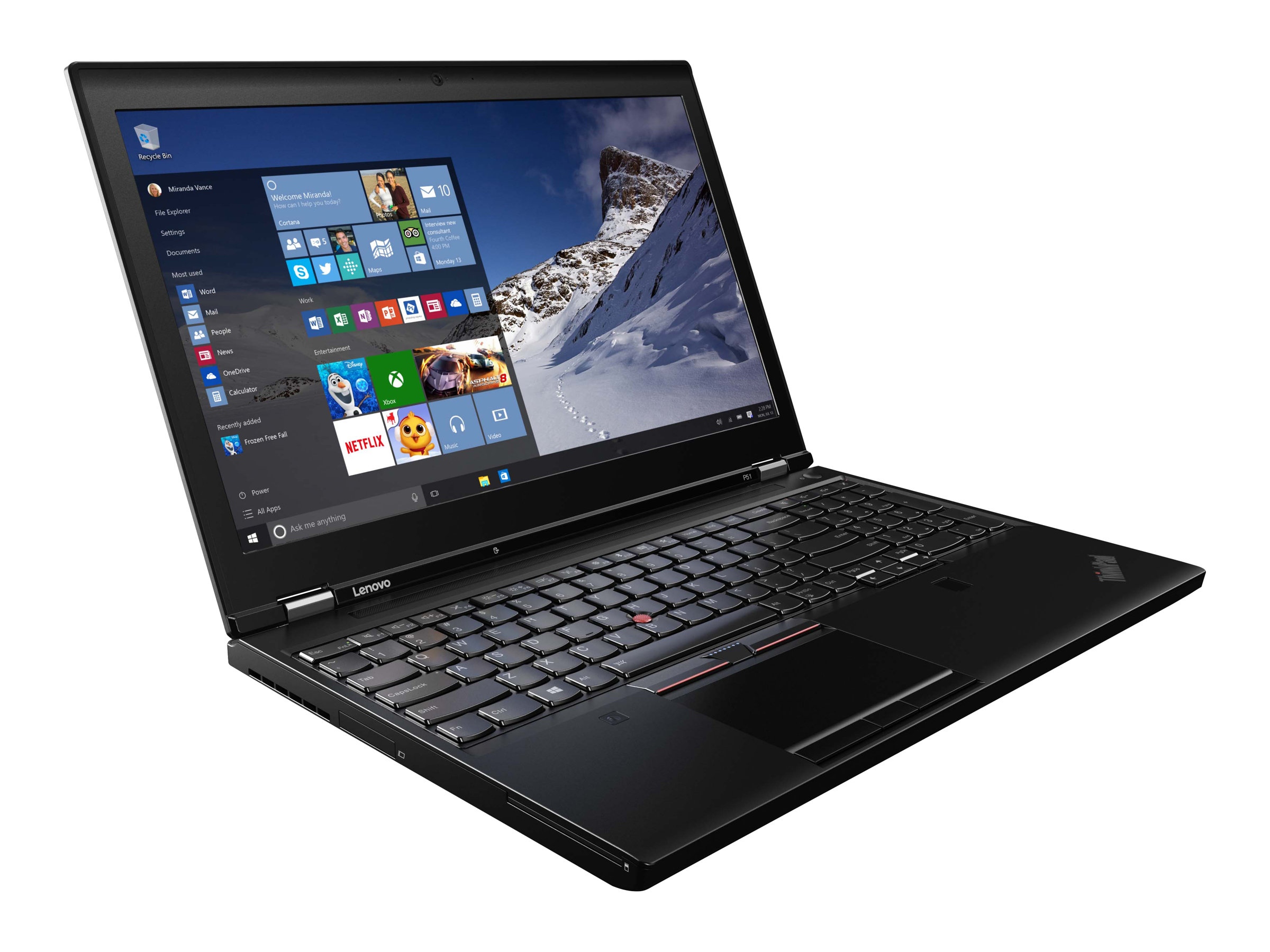 Lenovo ThinkPad P51 20HH - Core i7 7700HQ / 2.8 GHz - Win 10 Pro 64-Bit - 8 GB RAM - 256 GB SSD TCG Opal Encryption 2, NVMe - 39.6 cm (15.6