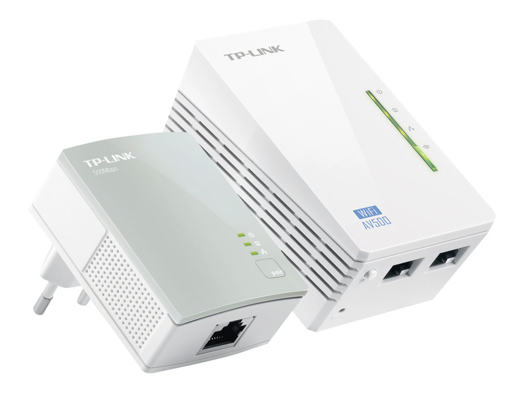 TP-LINK TL-WPA4220KIT AV500 2-Port Wifi Powerline Adapter Starter Kit - Bridge - HomePlug AV (HPAV) - 802.11b/g/n - an Wandsteckdose anschließbar