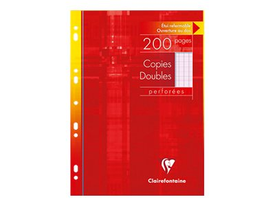 Copies Clairefontaine - A4 - Copies doubles - 21 x 29,7 -  200 pages - Grands carreaux