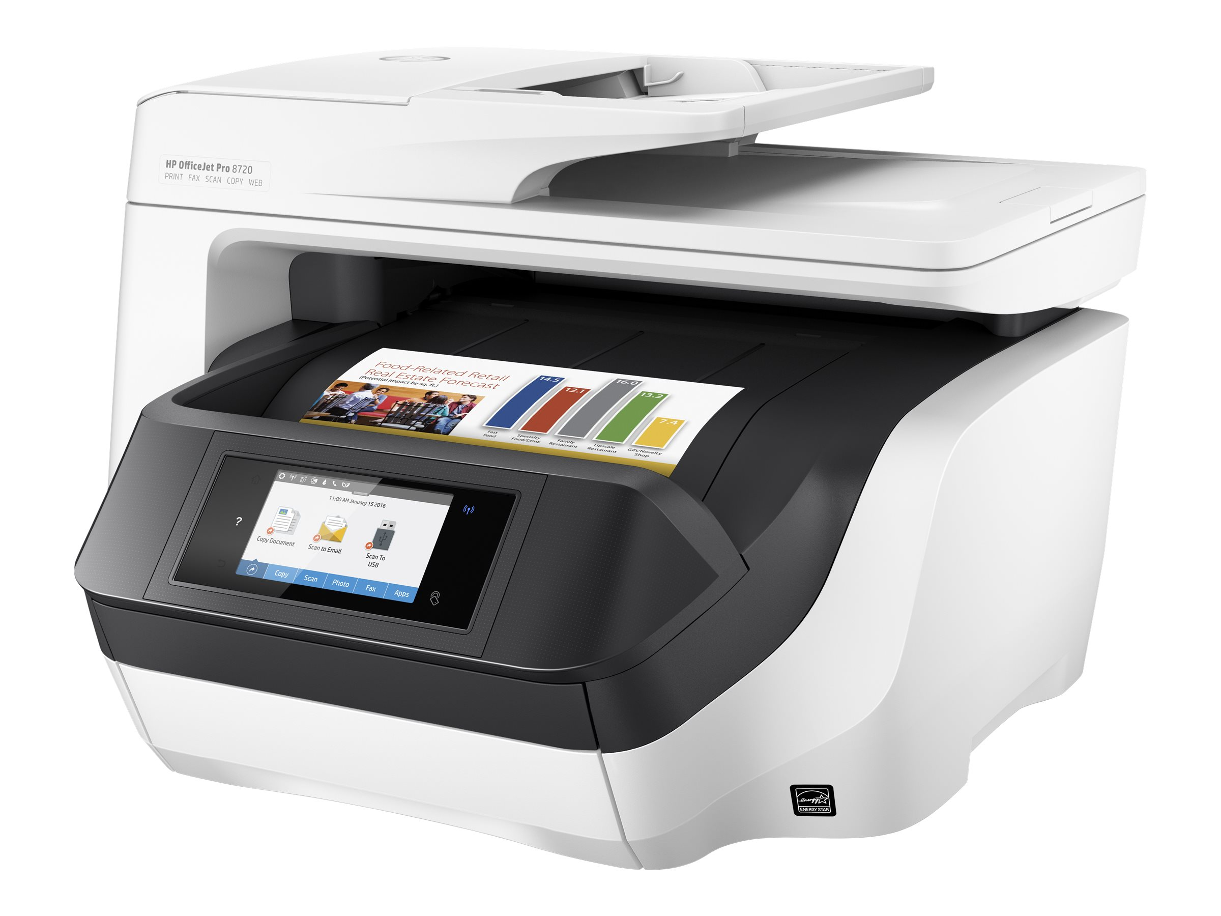 HP Officejet Pro 8720 All-in-One - Multifunktionsdrucker - Farbe - Tintenstrahl - Legal (216 x 356 mm) (Original) - A4/Legal (Medien)