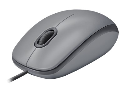 Logitech M110 Silent - Mouse - right and left-handed - optical - 3 buttons - wired - USB - mid grey