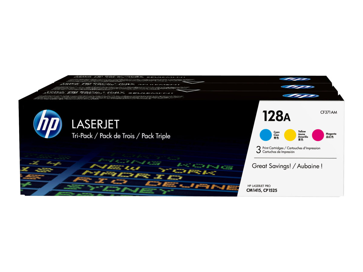 HP 128A - 3-pack - yellow, cyan, magenta - original - LaserJet - toner cartridge (CF371AM)