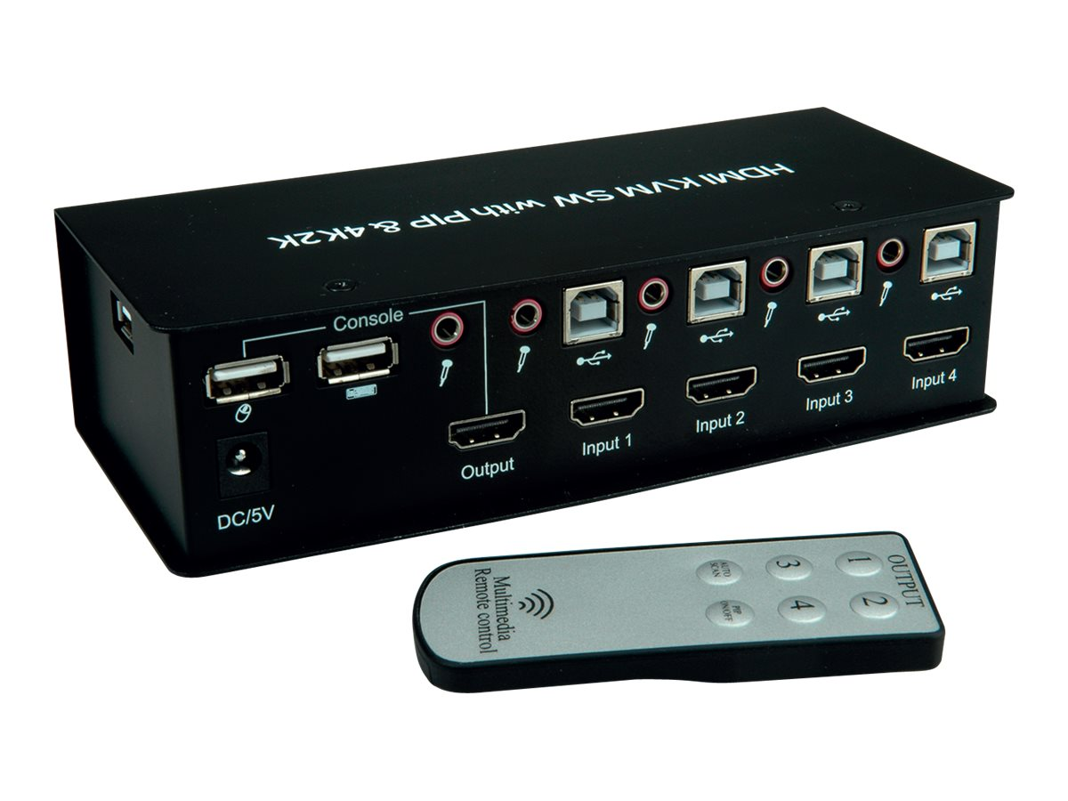 VALUE HDMI 4K2K USB 2.0 KVM-Audio-Switch - KVM-/Audio-/USB-Switch - 4 x KVM/Audio/USB - 1 lokaler Benutzer - Desktop