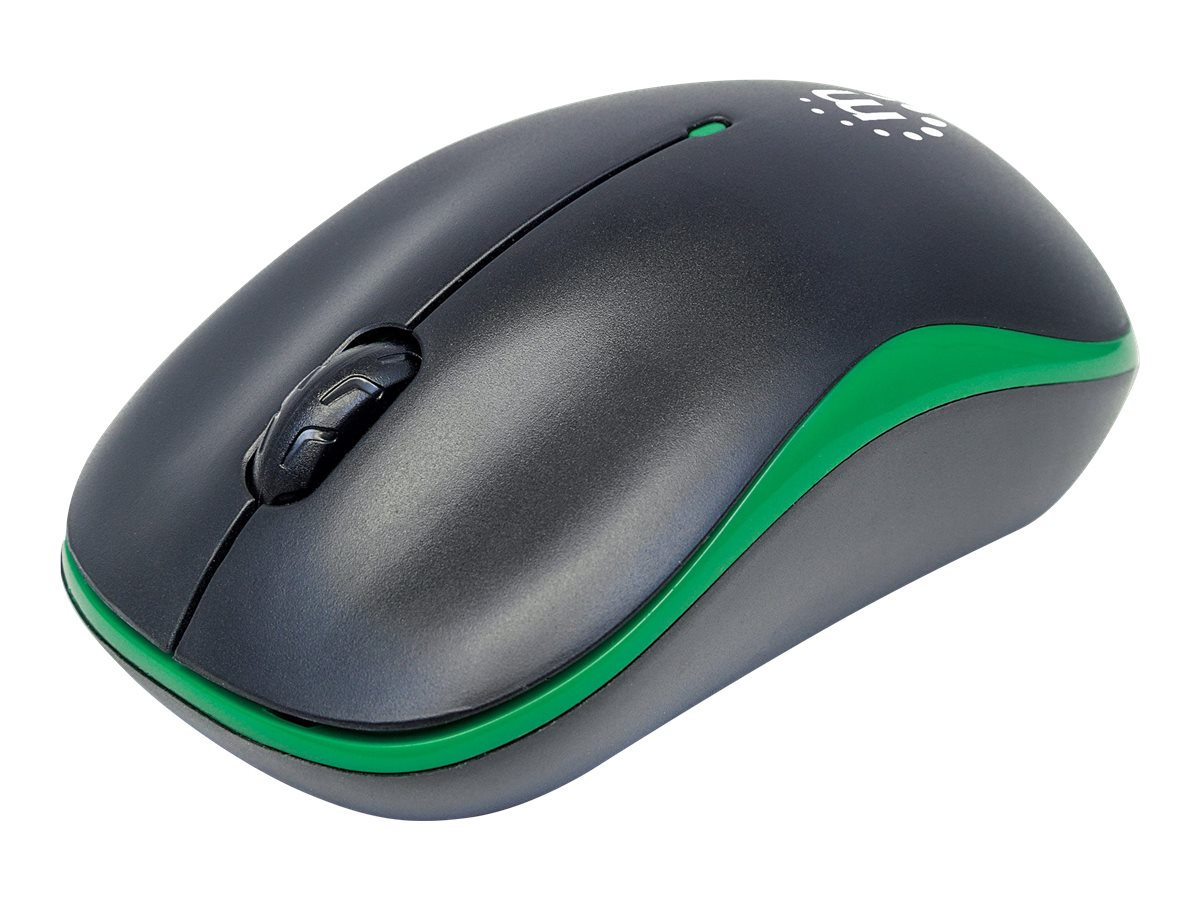 Manhattan Success Wireless Mouse, Black/Green, 1000dpi, 2.4Ghz (up to 10m), USB, Optical, Three Button with Scroll Whee…
