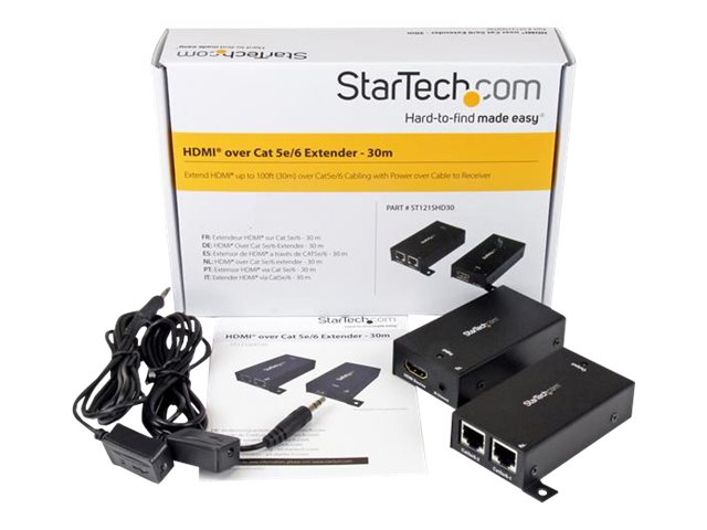 StarTech.com HDMI Over Dual CAT5 / CAT6 Extender with Infrared IR 100ft /30m HDMI Over Ethernet Cable Extender Power Free 1080p (ST121SHD30)