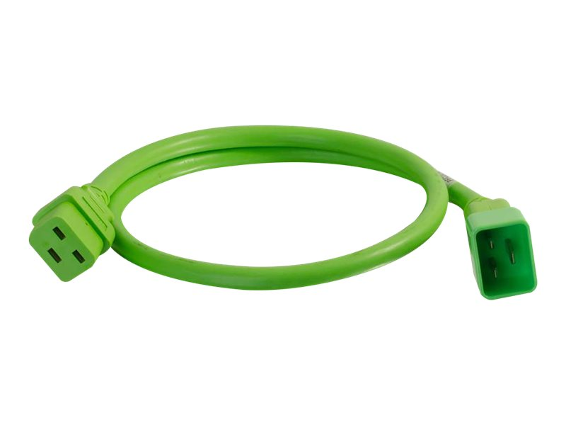C2G 1ft 12AWG Power Cord (IEC320C20 to IEC320C19) - Green - power cable - TAA Compliant - 30.5 cm