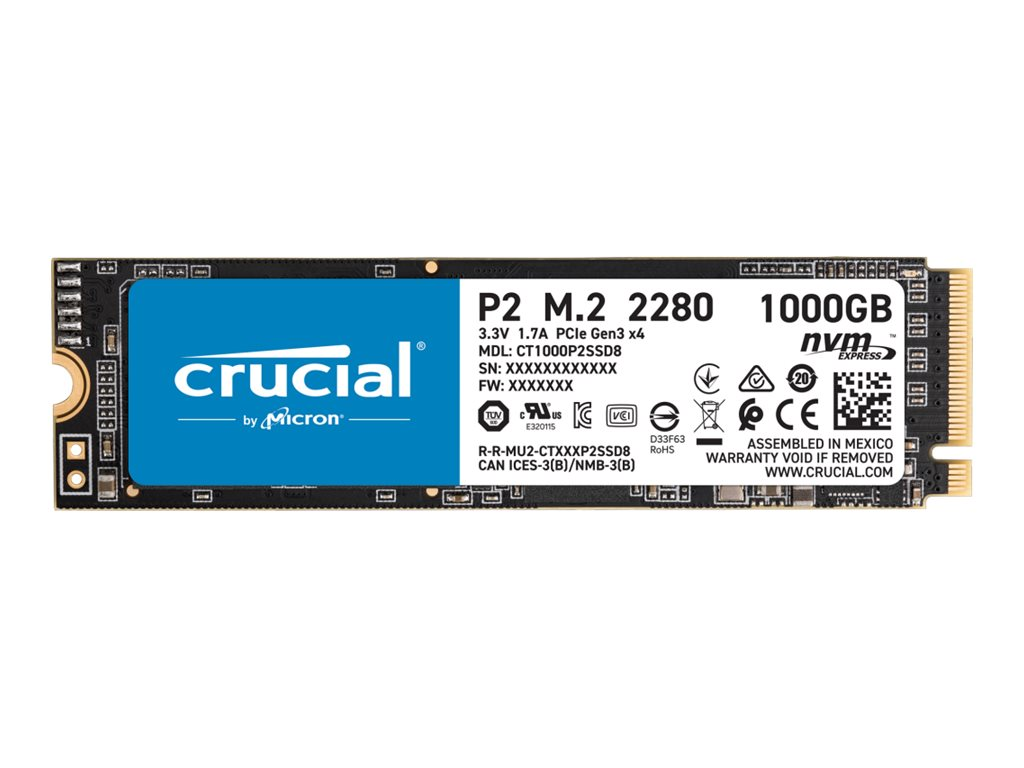 Crucial P2 - Solid-State-Disk - 1 TB - intern - M.2 2280 - PCI Express 3.0 x4 (NVMe)