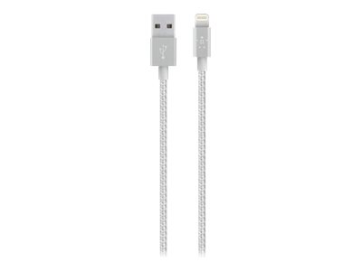 Belkin MIXIT Metallic Lightning to USB Cable - Lightning-Kabel - USB (M) bis Lightning (M) - 1.2 m - Silber - für Apple iPad/iPhone/iPod (Lightning)