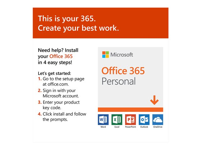 Microsoft Office 365 Personal - Version boîte (1 an) - 1 personne - sans support, P4 - Win, Mac, Android, iOS - français - zone euro