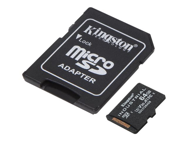 Kingston Industrial - Flash memory card (microSDXC to SD adapter included) - 64 GB - A1 / Video Class V30 / UHS-I U3 / Class10