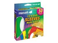 Maxell CD/DVD sleeve capacity: 1 CD/DVD multicolor (pack of 50)