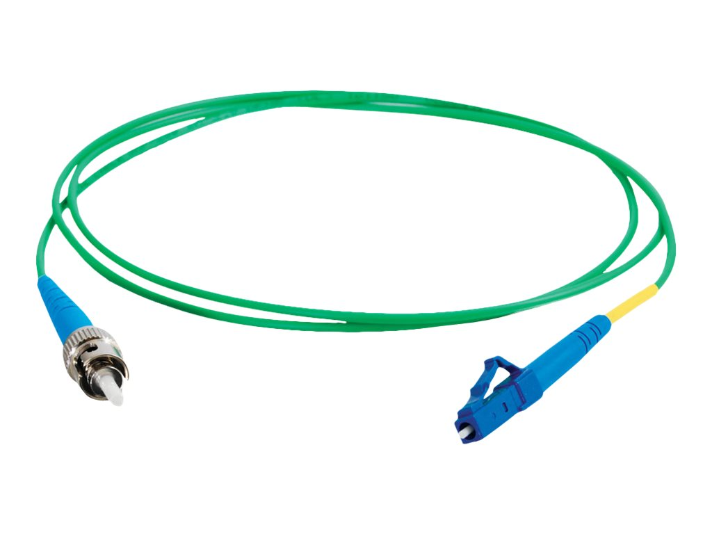 C2G 10m LC-ST 9/125 Simplex Single Mode OS2 Fiber Cable TAA - Green - 33ft - patch cable - 10 m - green