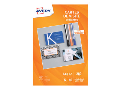 Cartes de visites Avery - 40 Cartes de Visite blanches à Bords Lisses - 85 x 54mm - Impression Jet d'encre - Brillant au recto