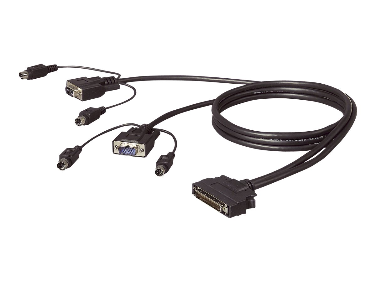 Belkin OmniView Dual Port Cable, PS/2 - Tastatur- / Video- / Maus- (KVM-) Kabel - PS/2, HD-15 (M) bis DB-25 (M) - 4.6 m - geformt - B2B