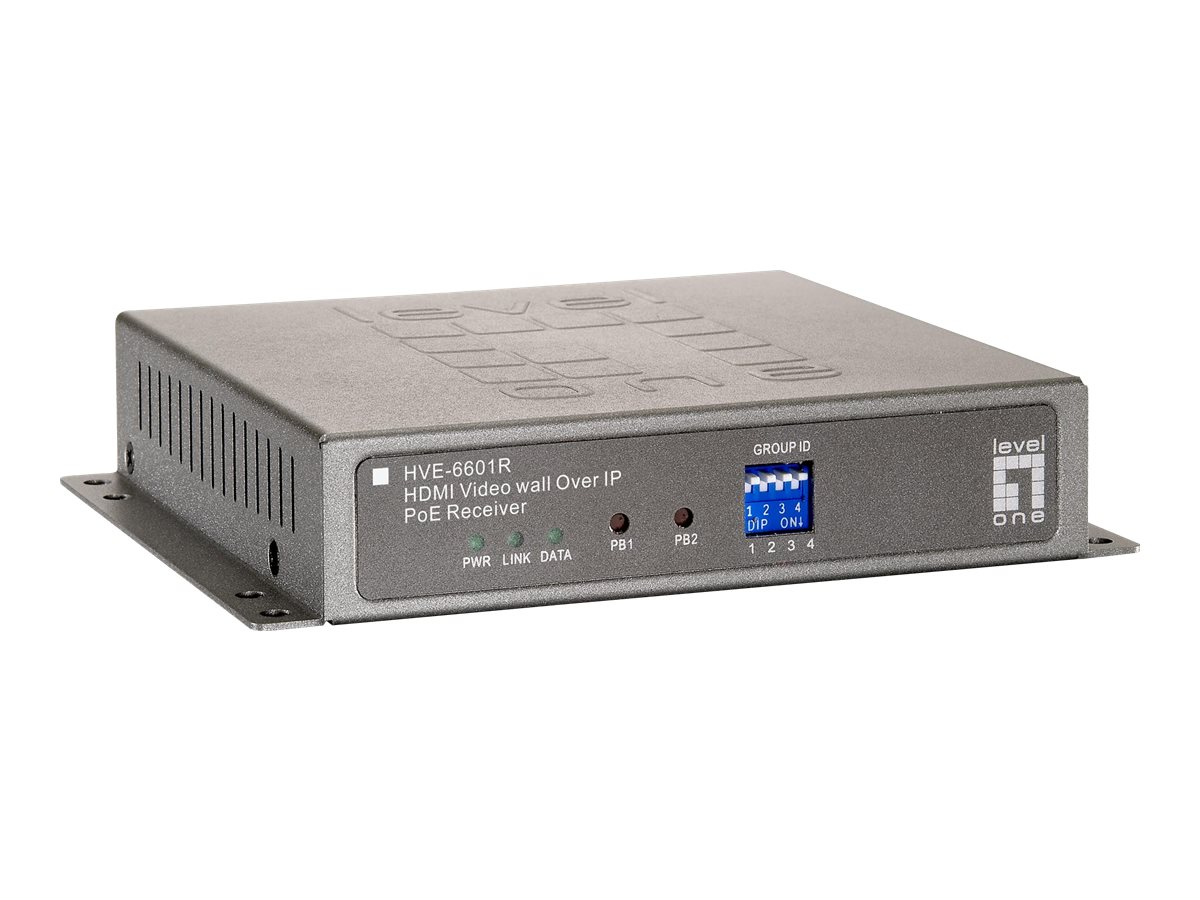 LevelOne HVE-6601R HDMI Video Wall over IP PoE Receiver - Video Extender - Gigabit Ethernet - 100Base-TX, 1000Base-T - für LevelOne GEP-2450