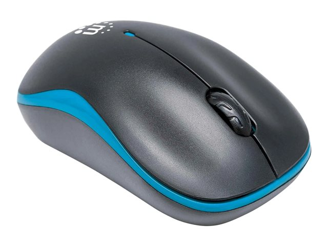 Manhattan Success Wireless Mouse, Black/Blue, 1000dpi, 2.4Ghz (up to 10m), USB, Optical, Three Button with Scroll Wheel, USB micro receiver, AA battery (included), Low friction base, Blister