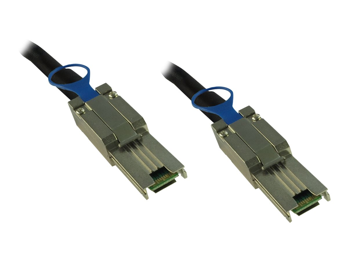Inter-Tech - Externes SAS-Kabel - SAS 6Gbit/s - 4x Shielded Mini MultiLane SAS (SFF-8088), 26-polig (M) bis 4x Shielded Mini MultiLane SAS (SFF-8088), 26-polig (M) - 2 cm - Schwarz