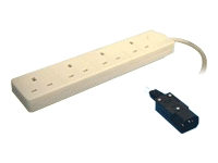 2M 4 Way Extension Lead C14 to 4 UK Sockets Mains Block White
