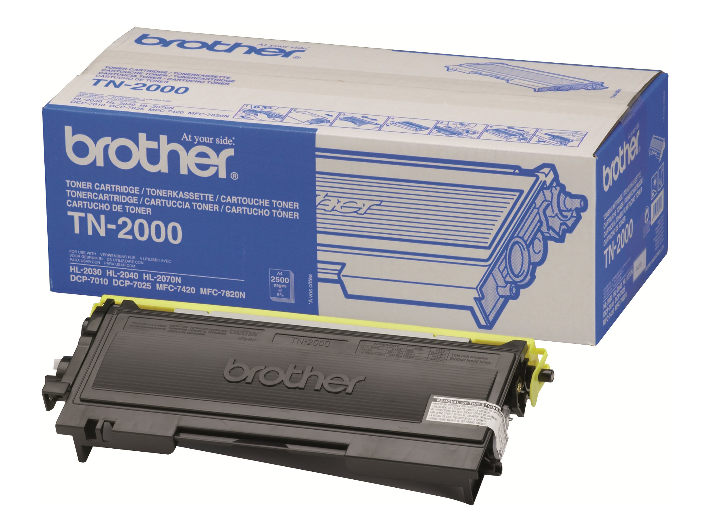 Brother TN2000 - Schwarz - Original - Tonerpatrone - für Brother DCP-7010, DCP-7010L, DCP-7025, MFC-7225n, MFC-7420, MFC-7820N; FAX-2820, 2825