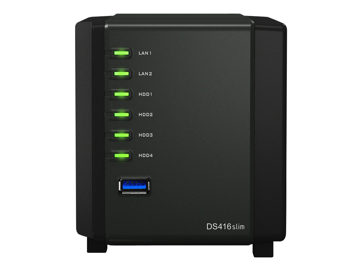 Synology Disk Station DS416slim - NAS-Server - 4 Schächte - SATA 6Gb/s - RAID 0, 1, 5, 6, 10, JBOD - RAM 512 MB