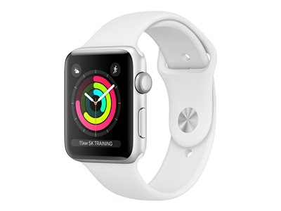 Apple Watch Series 3 (GPS) - sølvaluminium - smartklokke med sportsbånd - hvit - 8 GB