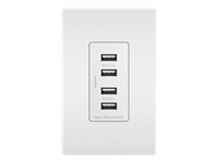 Legrand Radiant 4.2A Four USB Charger Outlet and Screwless Wall Plate - White