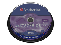 Verbatim - 10 x DVD+R DL - 8.5 GB 8x - matt silver - spindle