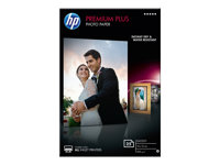 HP Premium Plus Photo Paper - Brillant - 100 x 150 mm - 300 g/m² - 25 feuille(s) papier photo - pour Envy 5055, 7645; Officejet 52XX, 76XX; PageWide MFP 377; PageWide Pro 452; Photosmart 5525
