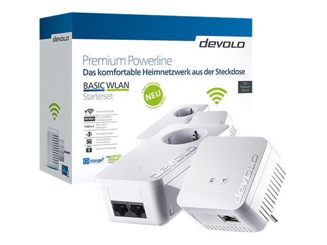 devolo BASIC WLAN - V2 - Starter Set - Bridge - HomePlug AV (HPAV), IEEE 1901 - 802.11b/g/n