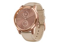 Garmin vívomove Luxe 42 mm 18K rose gold PVD stainless steel smart watch with band