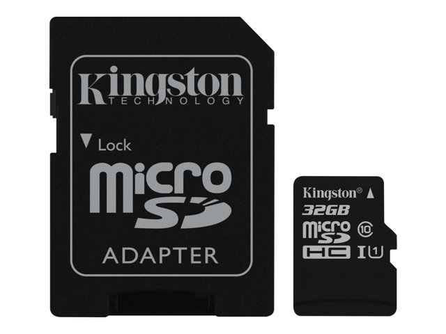 Kingston Canvas Select - Flash memory card (microSDHC to SD adapter included) - 32 GB - UHS-I U1 / Class10