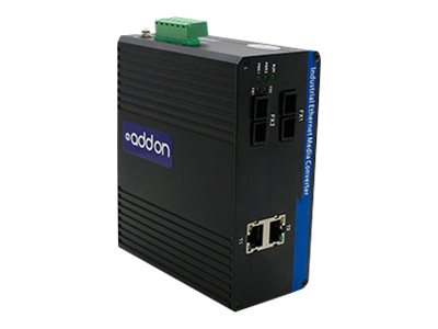 AddOn 1Gbs 2 RJ-45 to 2 SC Industrial Media Converter - fiber media converter - GigE