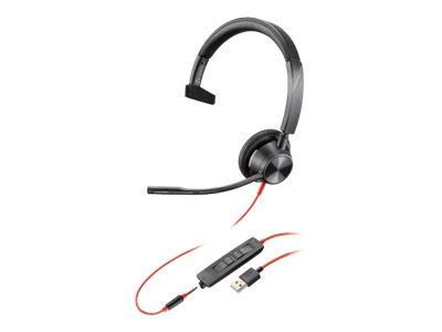 Poly - Plantronics Blackwire 3315 - 3300 Series - headset - on-ear - wired - USB, 3.5 mm jack