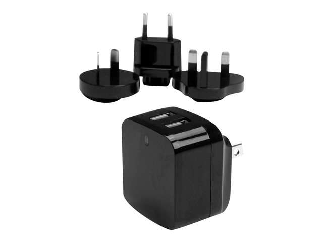 StarTech.com Travel USB Wall Charger - 2 Port - Black - Universal Travel Adapter - International Power Adapter - USB Charger (USB2PACBK)