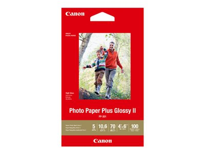 Canon Photo Paper Plus Glossy II PP-301 - photo paper - high-glossy - 100 sheet(s) - 3.95 in x 5.9 in - 265 g/m�