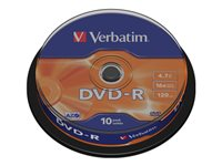 Verbatim - 10 x DVD-R - 4.7 GB 16x - matt silver - spindle