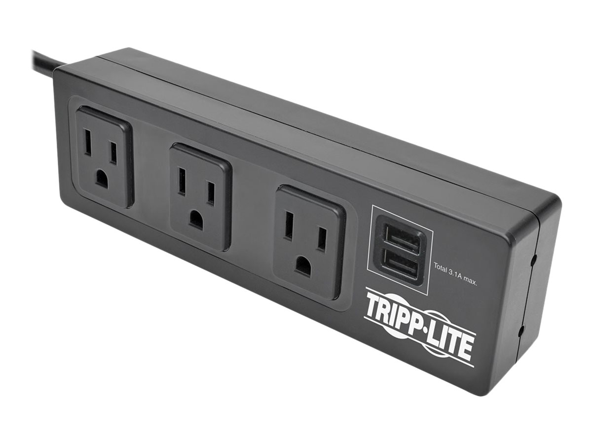 Tripp Lite Protect It! 3-Outlet Surge Protector with Mounting Brackets, 10 ft. Cord, 510 Joules, 2 USB Charging Ports, …