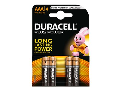 Piles & Chargeurs Duracell Plus Power MN2400 batterie - 4 x type AAA - Alcaline