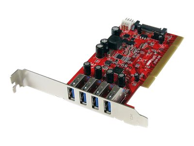 StarTech.com 4 Port USB 3.0 PCI Schnittstellenkarte- PCI SuperSpeed USB 3.0 Controller Karte - USB-Adapter - PCI-X Low Profile - USB 3.0 x 4 - Rot