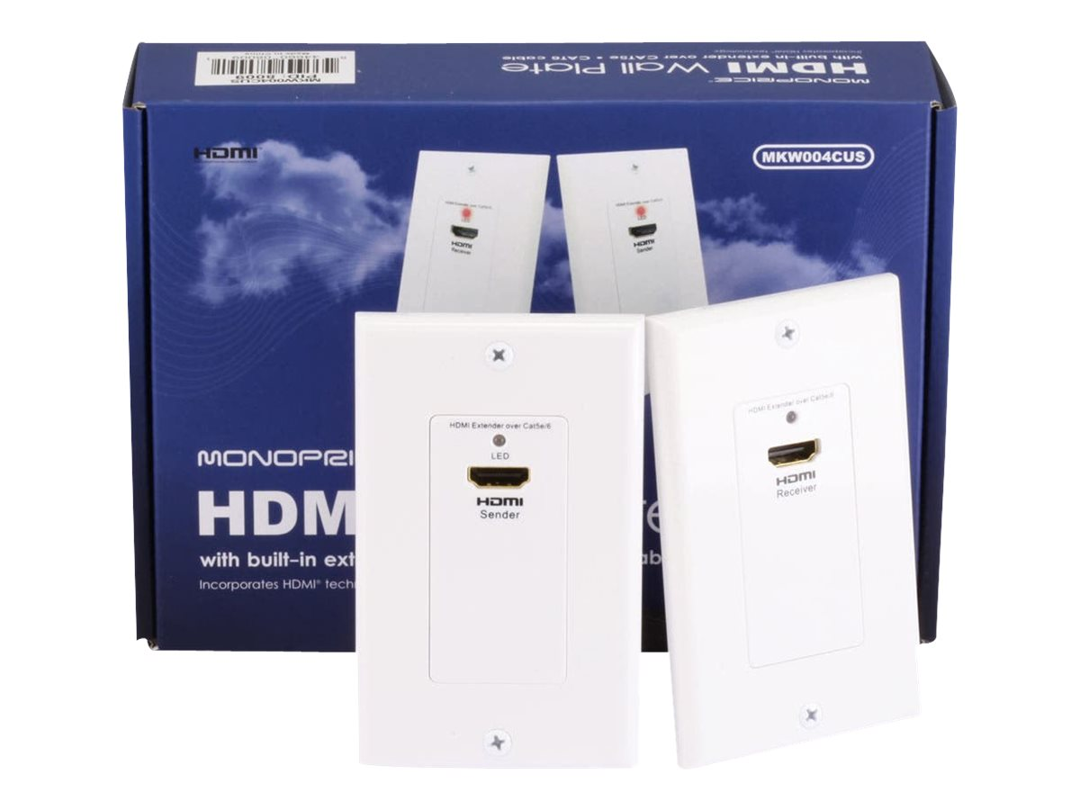 Monoprice MKW004CUS HDMI Over Cat5e / Cat6 Extender Wall Plate - transmitter and receiver - video/audio extender