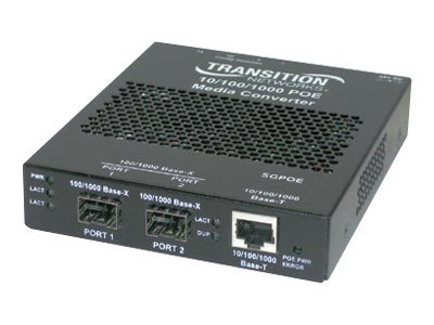 Transition Networks Stand-Alone Power over Ethernet PSE - fiber media converter - 10Mb LAN, 100Mb LAN, GigE