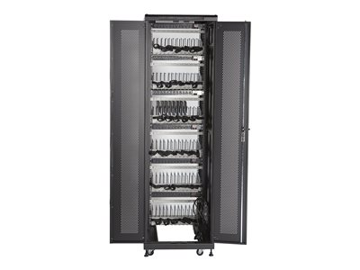 Black Box Mass Charging Cabinet Cart for 72 tablets / notebooks lockable 16 gauge steel