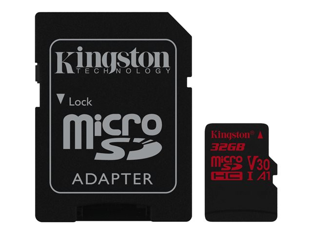 Kingston Canvas React - Carte mémoire flash (adaptateur microSDHC - SD inclus(e)) - 32 Go - A1 / Video Class V30 / UHS-I U3 / Class10 - microSDHC UHS-I