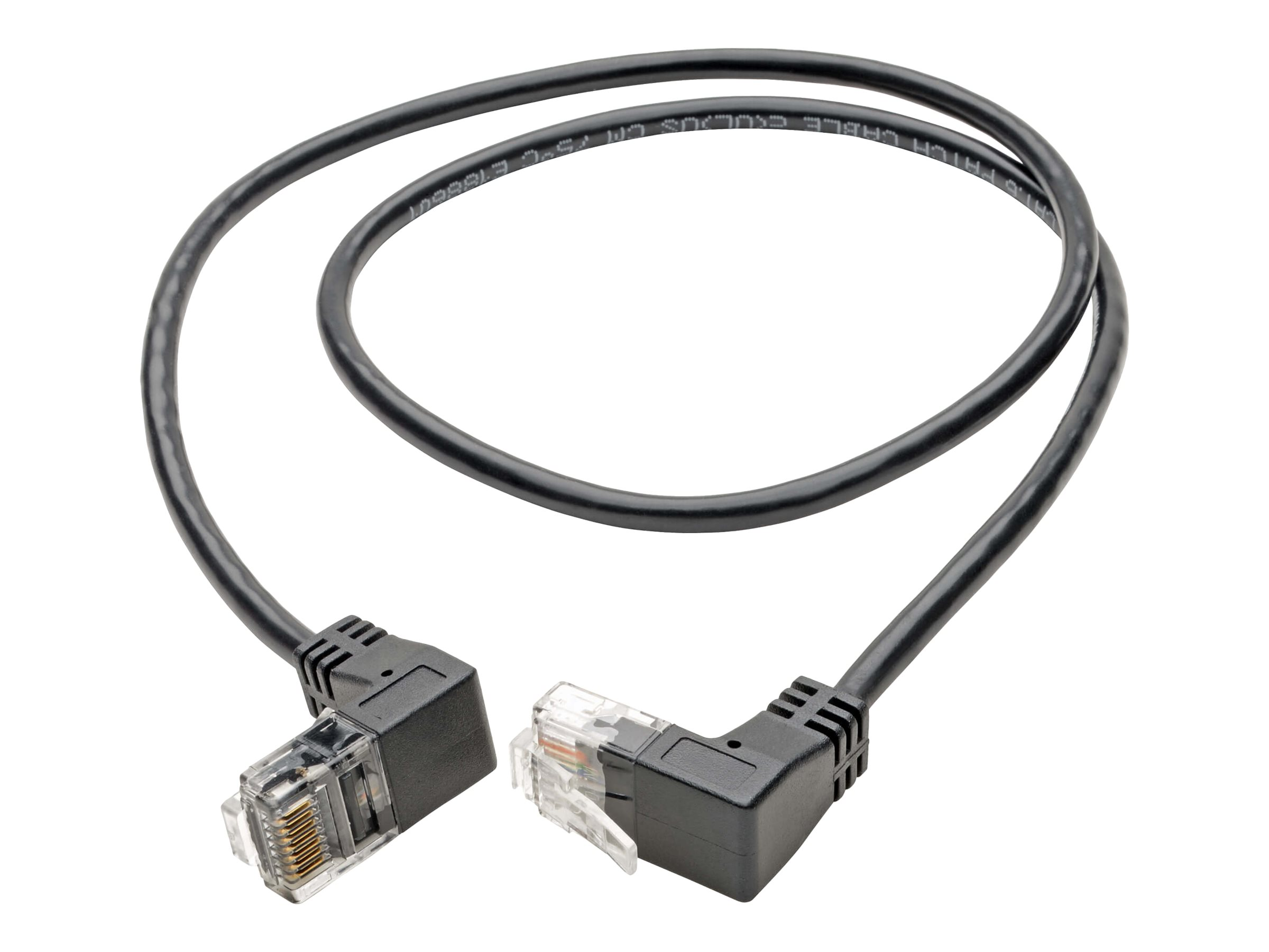 Tripp Lite Cat6 Gigabit Patch Cable Snagless Right-Angle UTP Slim Black 2ft - patch cable - 61 cm - black