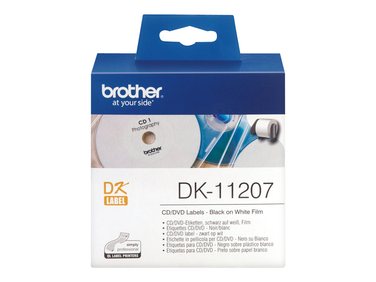 Brother DK-11207 - 100) CD/DVD-Etiketten - für Brother QL-1050, QL-500, QL-550, QL-560, QL-650, QL-700, QL-710, QL-720, QL-820